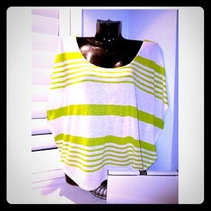 SWEET CLAIRE Green Strip Criss Cross Batwing Top